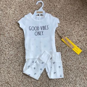 NWT Rae Dunn Good Vibes Only pajamas